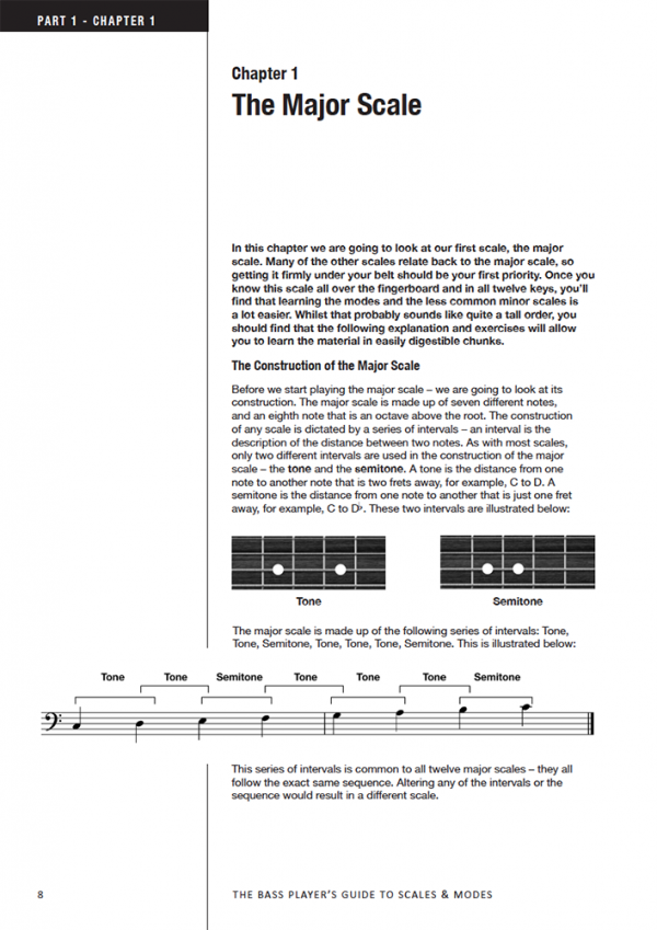 Sample page from The Bass Guitarist's Guide to Scales and Modes