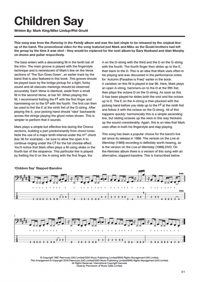 Sample page from The Level 42 Bass Book