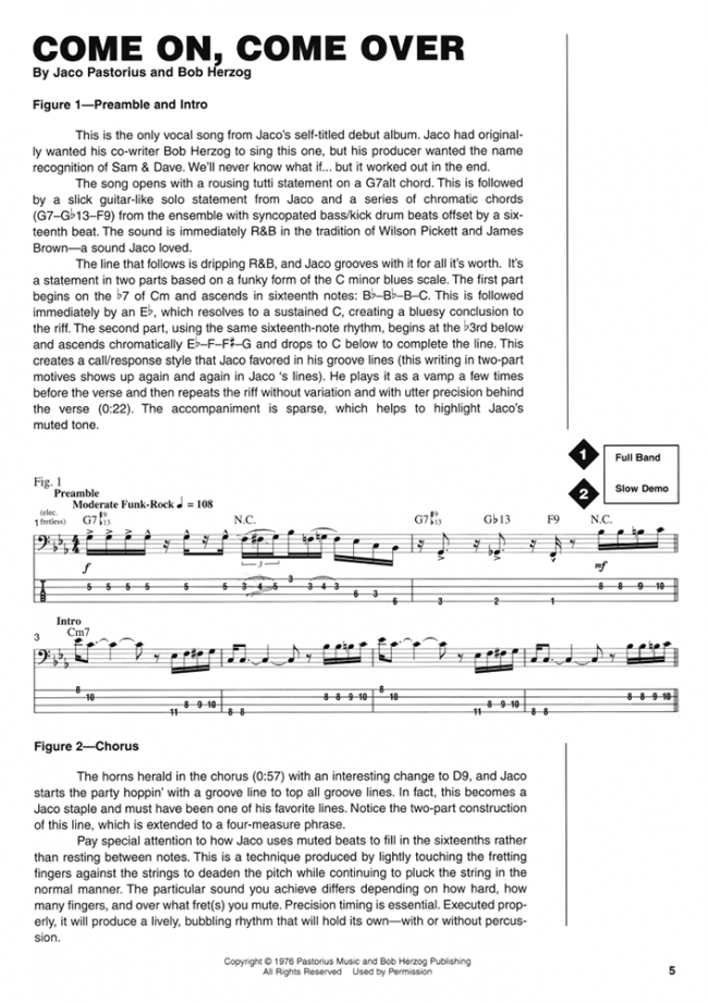 Sample page from Jaco Pastorius Signature Licks