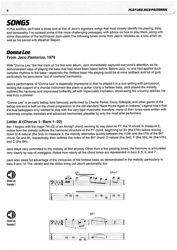 Sample page from Play Like Jaco book