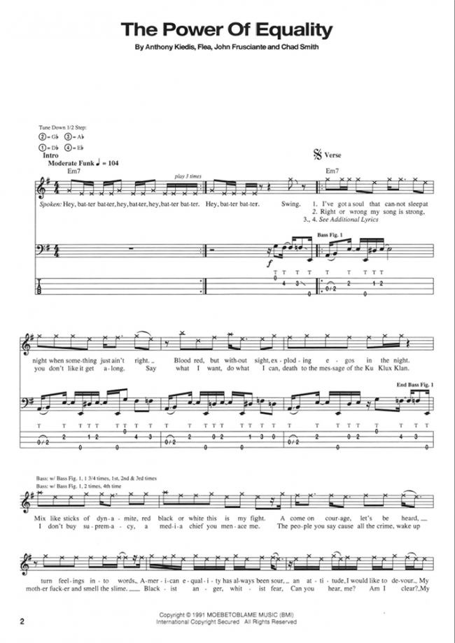 Sample page from Red Hot Chili Peppers Blood Sugar Sex Magik