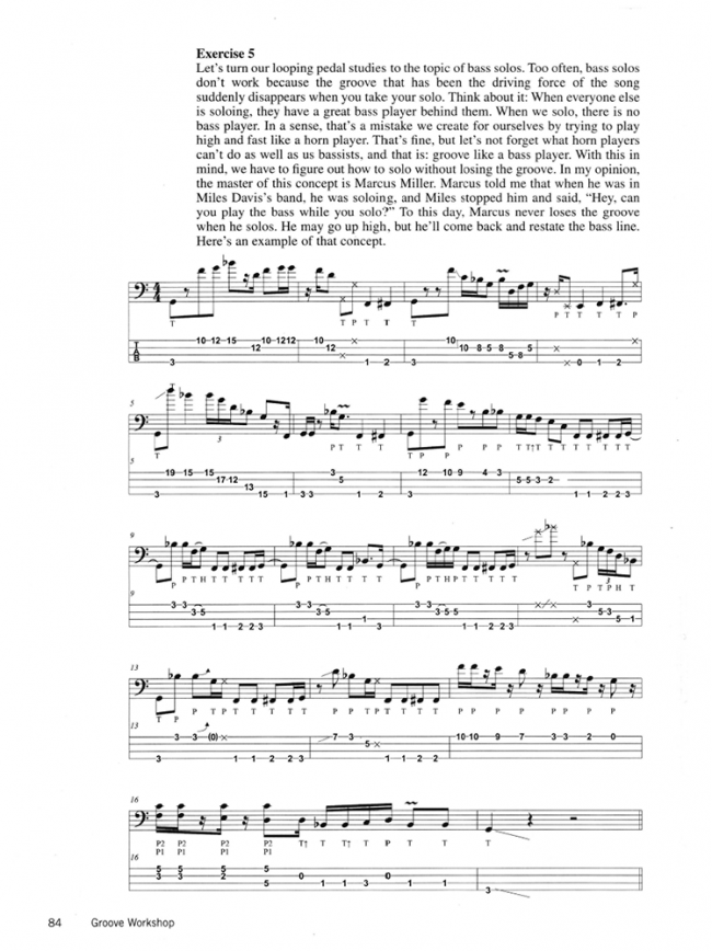 Sample page from Victor Wooten Bass Workshop