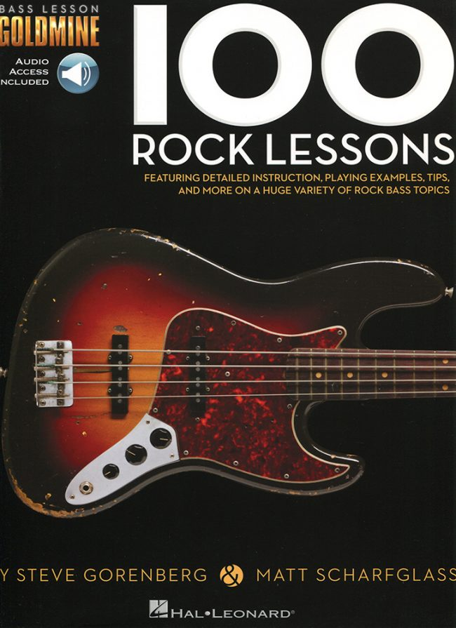 Front cover of Bass Lesson Goldmine - 100 Rock Lessons book