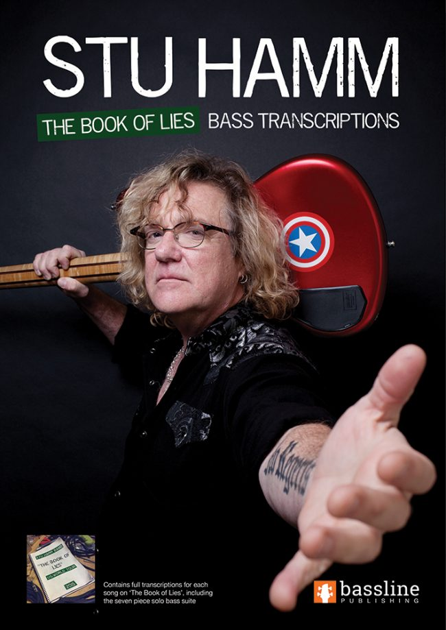 Front cover of Stu Hamm - The Book of Lies Bass Transcriptions book