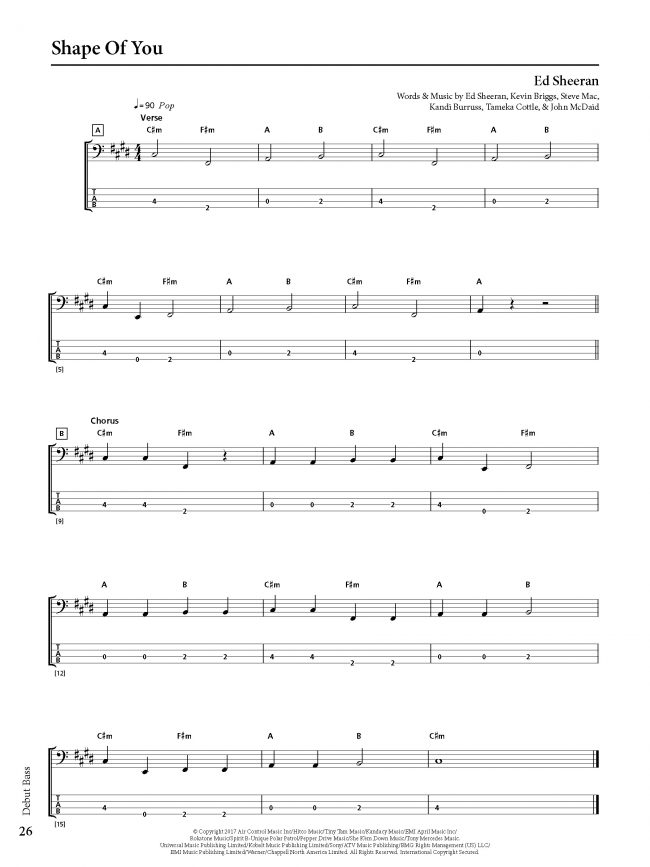 Sample page from Rockschool BASS - Debut Grade