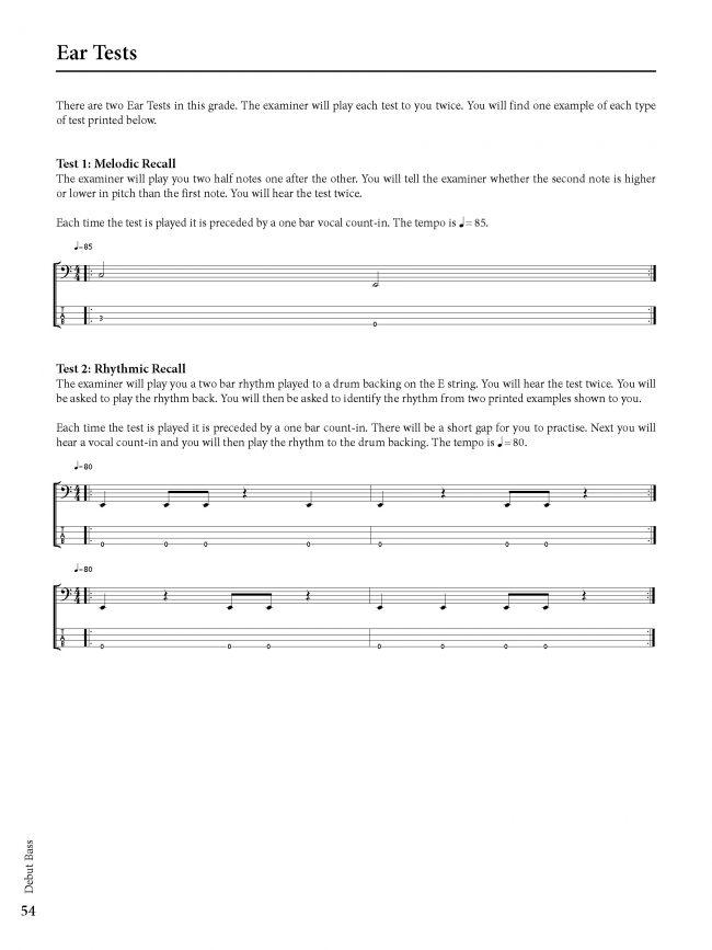 Sample page from Rockschool BASS - Debut Grade