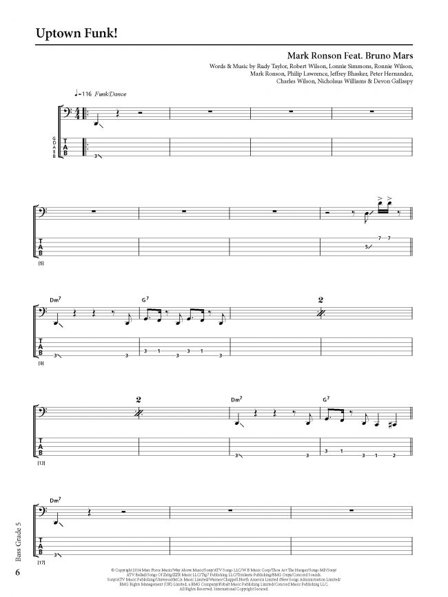 Sample page from Rockschool BASS - Grade 5