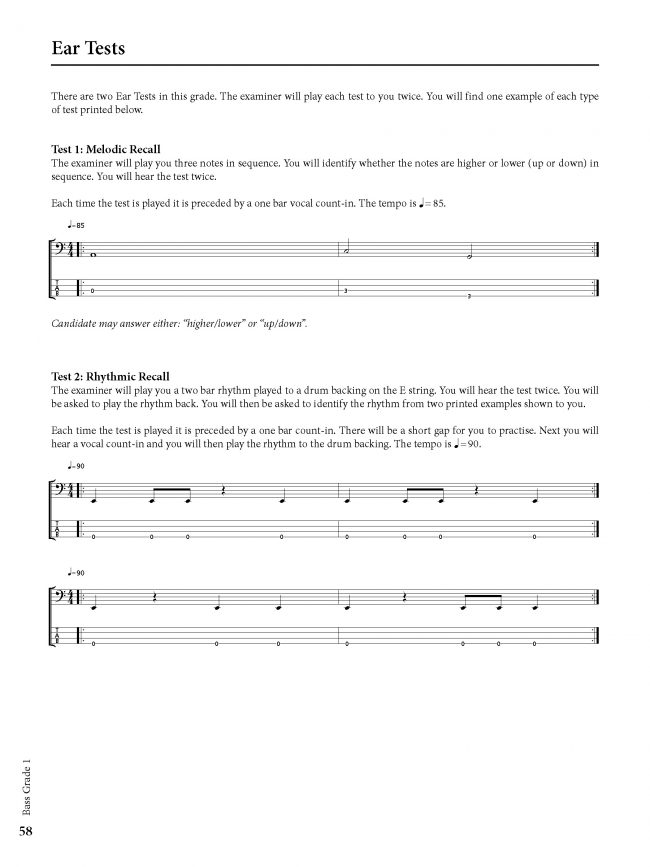 Sample page from Rockschool BASS - Grade 1