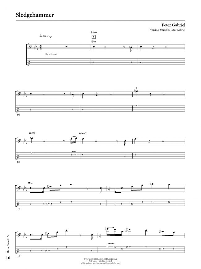 Sample page from Rockschool BASS - Grade 6