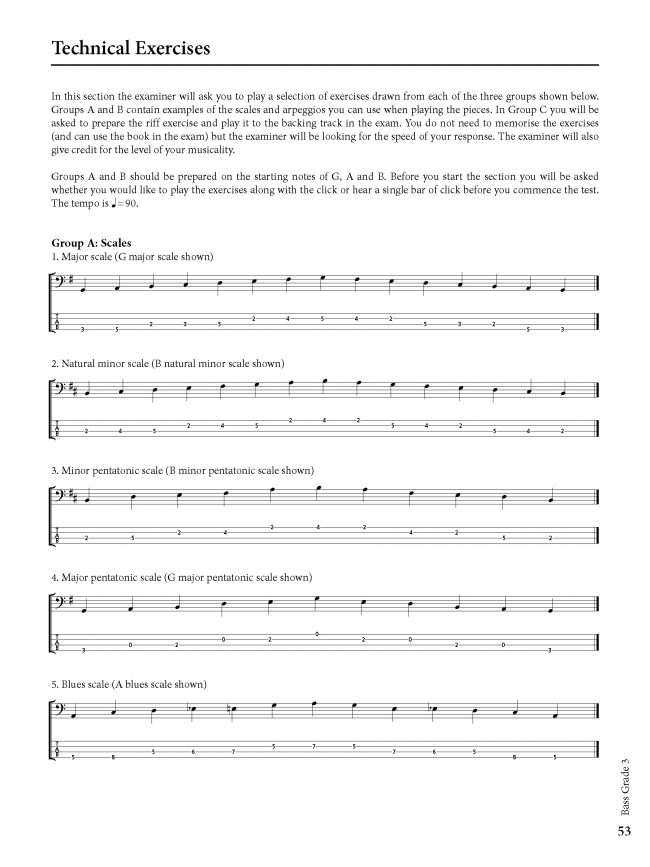 Sample page from Rockschool BASS - Grade 3
