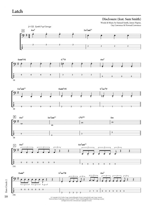 Sample page from Rockschool BASS - Grade 2
