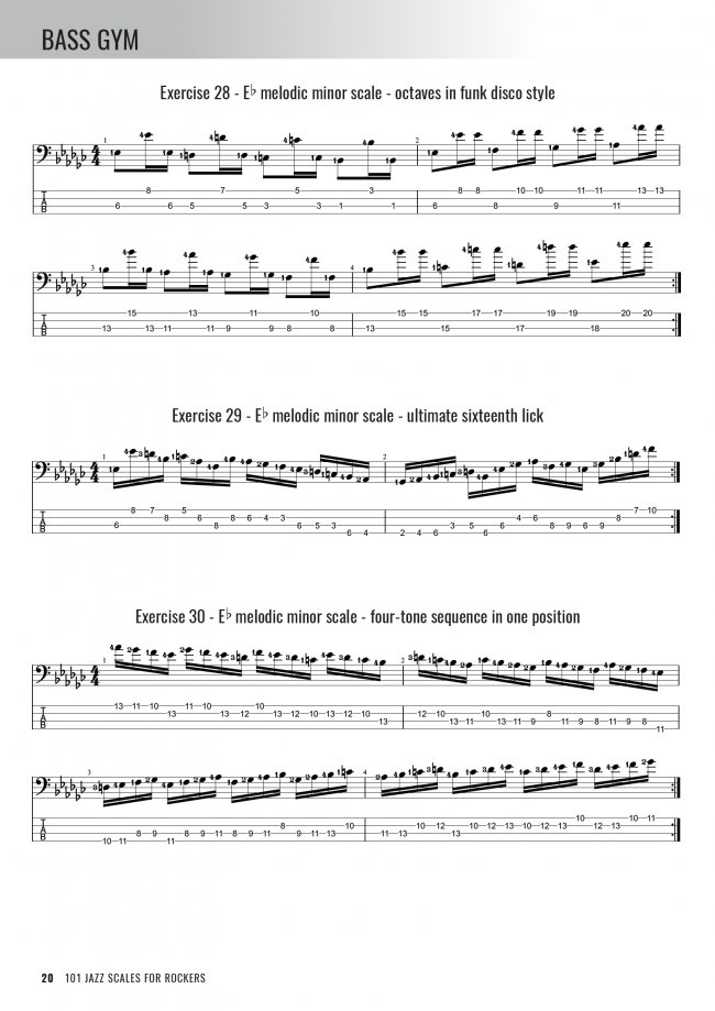Bass Gym - 101 Jazz Scales for Rockers - Sample Page #2