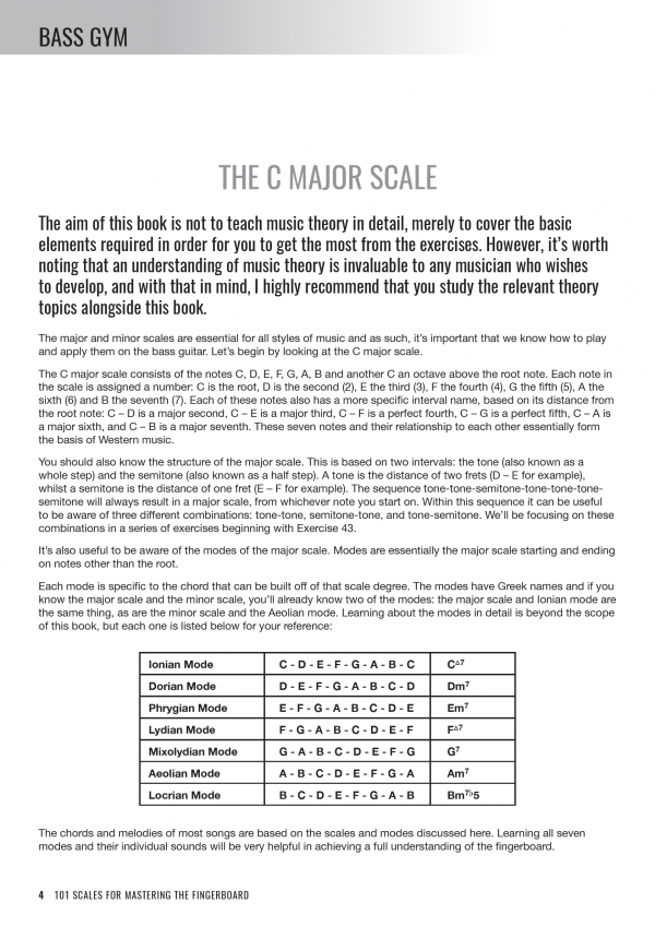 Bass Gym - 101 Scales for Mastering the Fingerboard - Sample Page #1