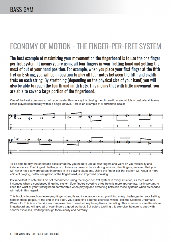 Bass Gym - 101 Warm-ups for Finger Independence - Sample Page #1