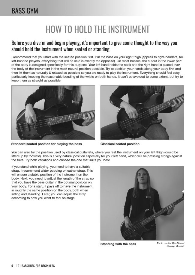 Sample page from Bass Gym - 101 Basslines for Beginners