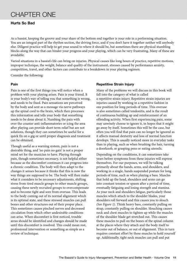 Sample Page from The Bassist's Guide to Injury Management, Prevention and Better Health - Volume One